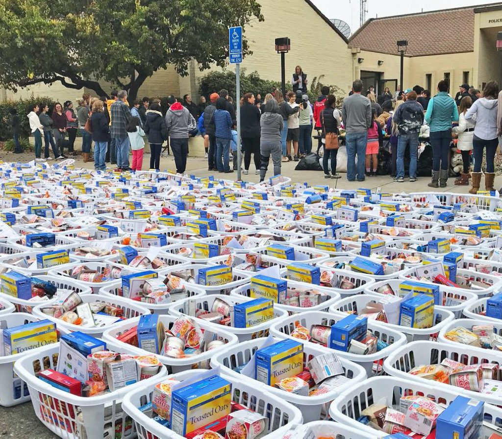 A parking lot covered in baskets of donated food